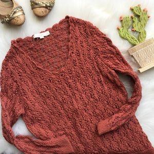 Loft Rust Terra-cotta Open Knit Spring Sweater